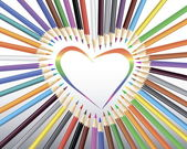 Barevné tužky v srdce