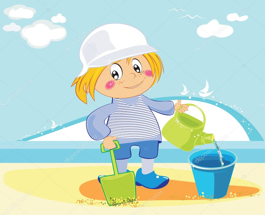 animé boy jouer sur la plage u2014 image vectorielle 4433084
