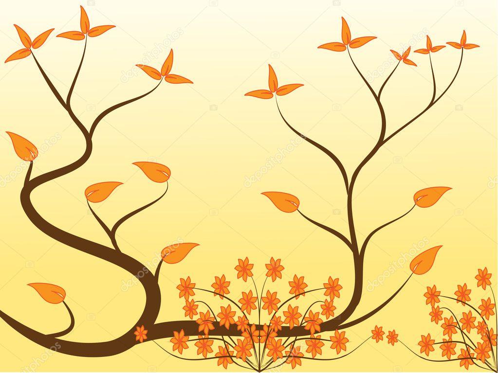 Astratto Sfondo Pallavolo Disegno Vettoriale: Un Disegno Floreale Arancio Astratto
