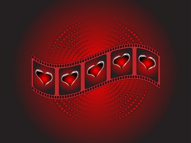 A valentines Background with red and silver hearts on a film str