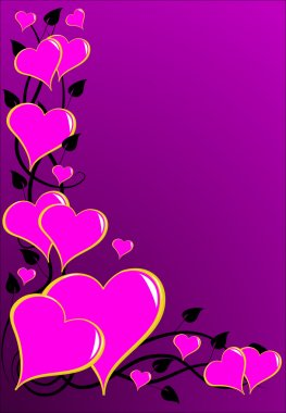 A pink Valentines hearts vector background