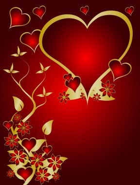 A red and gold Valentines vector background