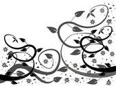 A stilizált fekete-fehér absztrakt virág rajzolatú