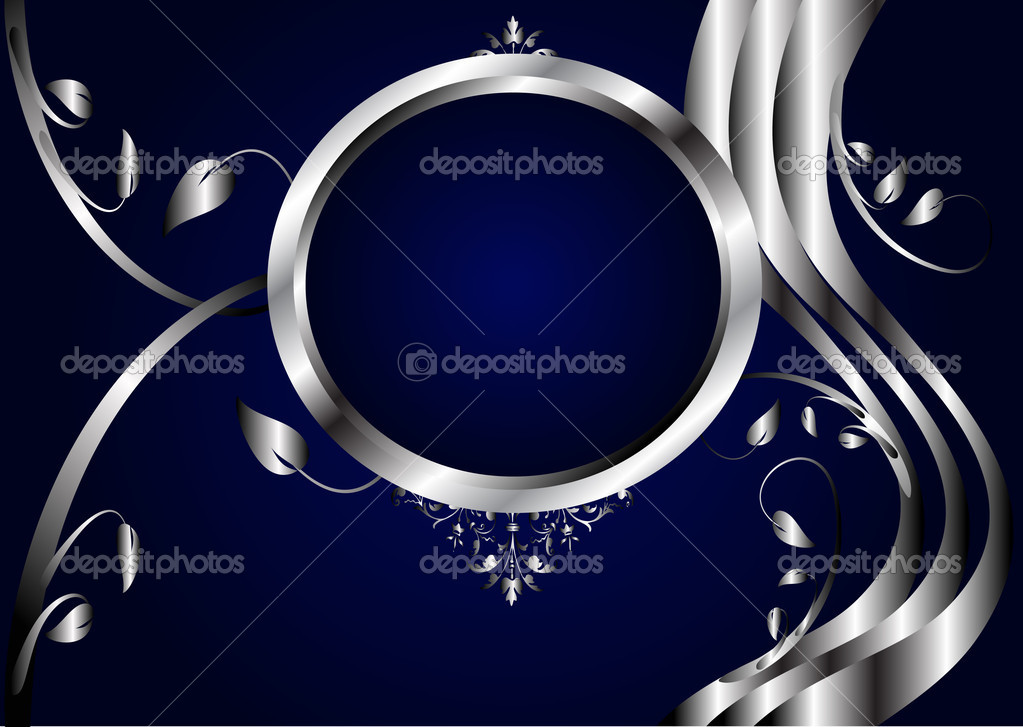 A Silver Floral Design With Room For Text On Royal Blue Background Vector By Mhprice