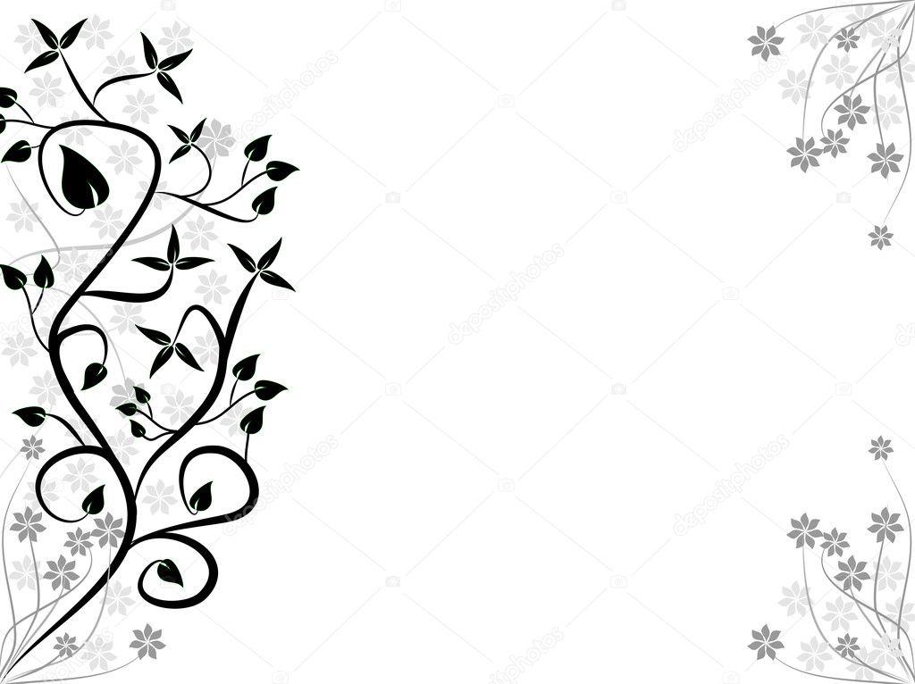 Un Disegno Floreale Astratto Bianco E Nero Stilizzato Vettoriali