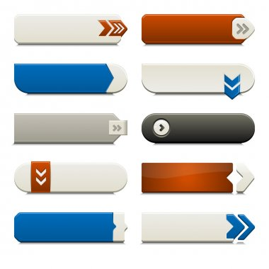 Ten call to action buttons, with different styles and shapes. Made with Global Swatches. stock vector