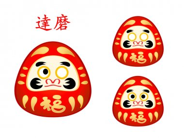 Three phase of Daruma doll eyes and name in japanese stock vector