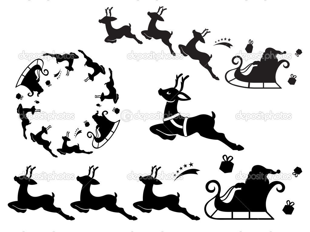 Santa sleigh ornament - Santa Sleigh Ornament Stock Vector 4202124