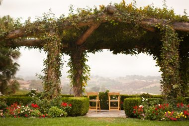 Vine Covered Patio and Chairs with Country View
