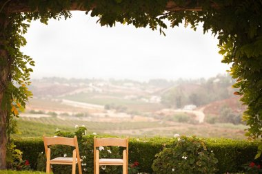 Vine Covered Patio and Chairs Overlooking the Country