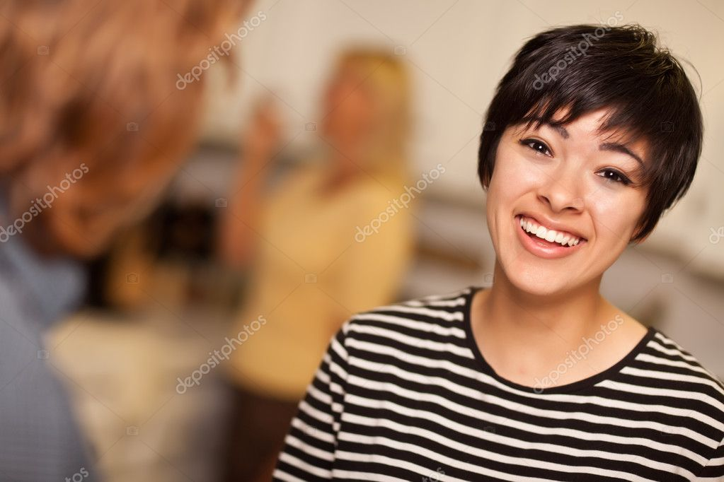 Laughing Young Woman Socializing
