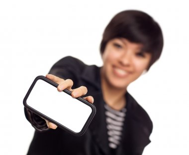Smiling Young Mixed Race Woman Holding Blank Smart Phone