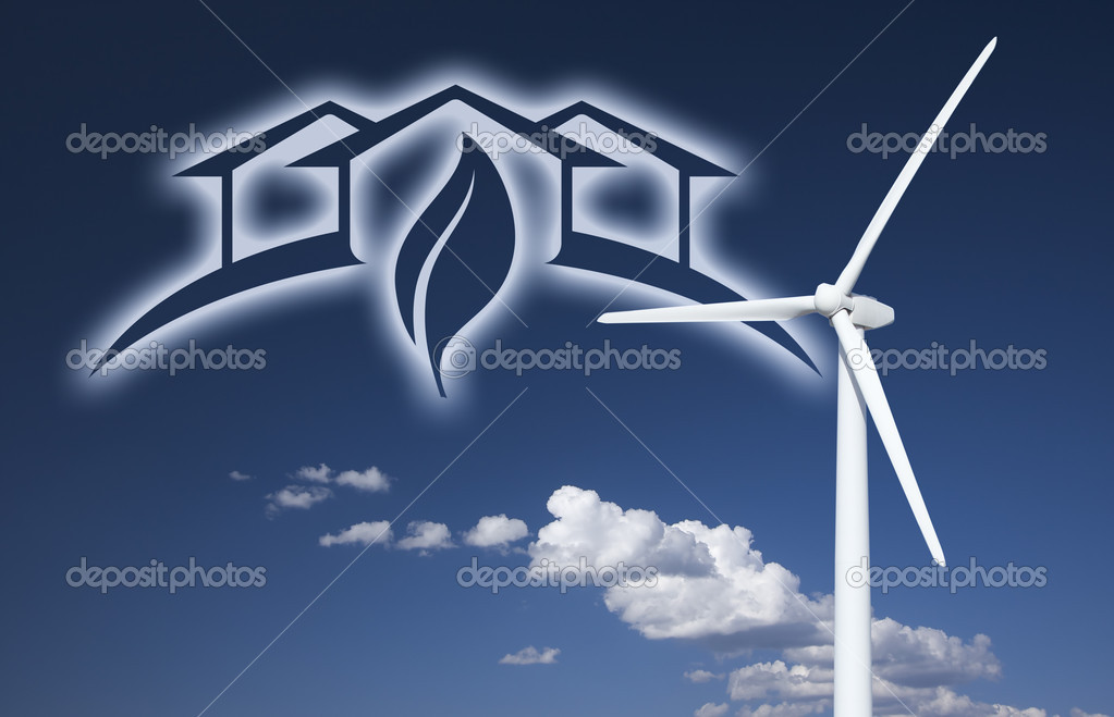 Wind Turbine Over Sky, Clouds, Ghosted House and Leaf