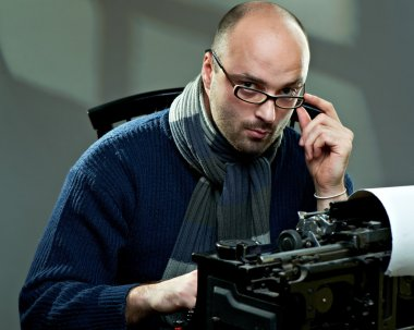 Portrait of a bald writer