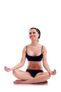 Zen yoga fitness woman on white