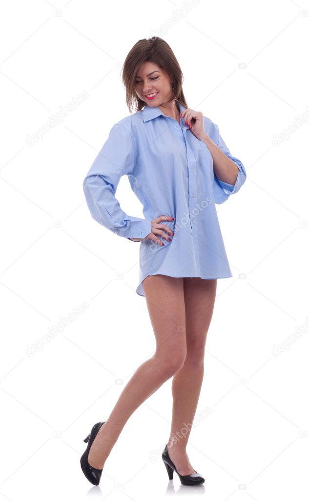 woman in a blue men 39 s shirt stock photo feedough 4748629