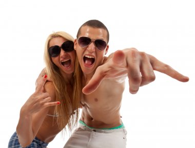 Young couple screaming