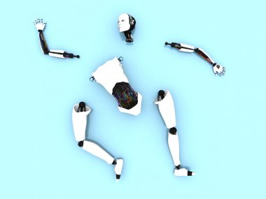 Parts of a female robot on the floor.