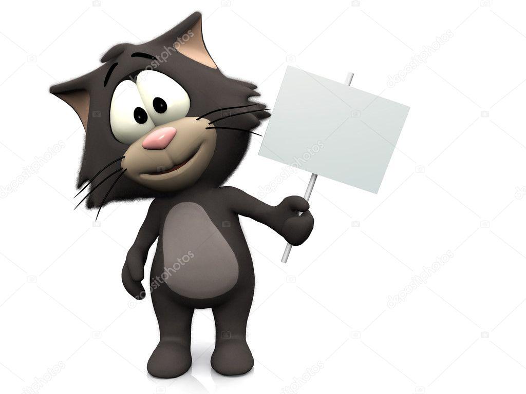 Gatto simpatico cartone animato con cartello bianco — foto