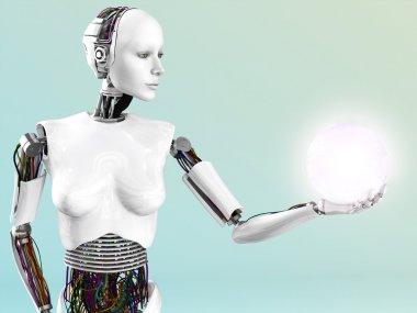 Robot woman holding energy sphere.