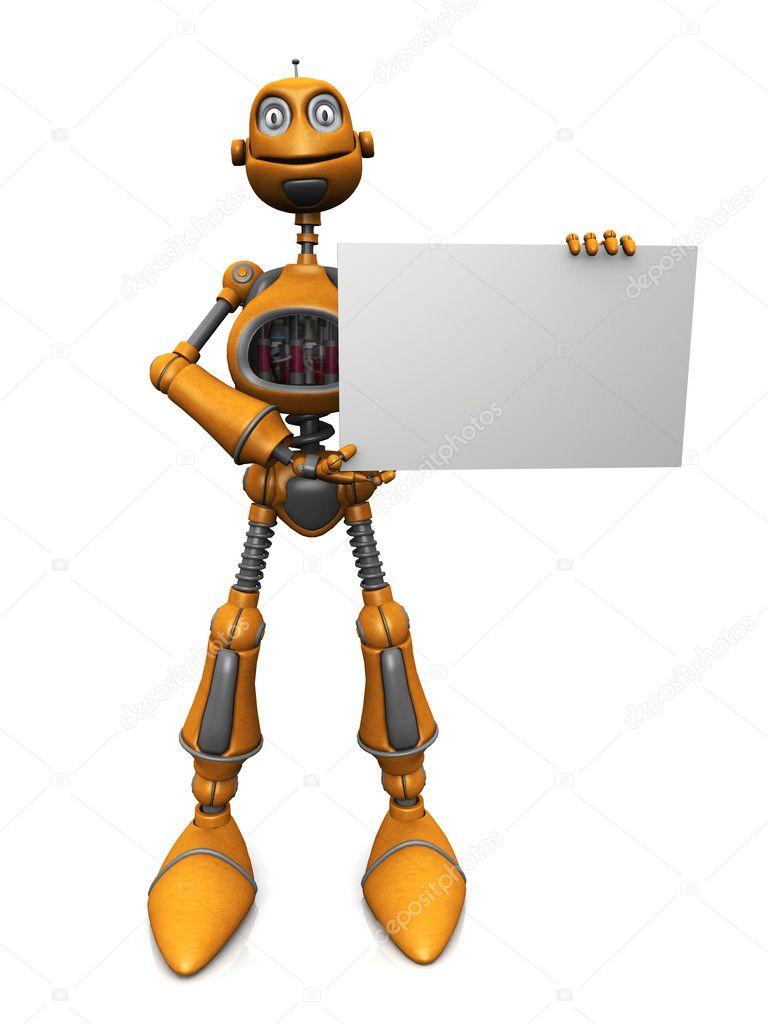 Robot dei cartoni animati con cartello bianco. u2014 foto stock © sarah5