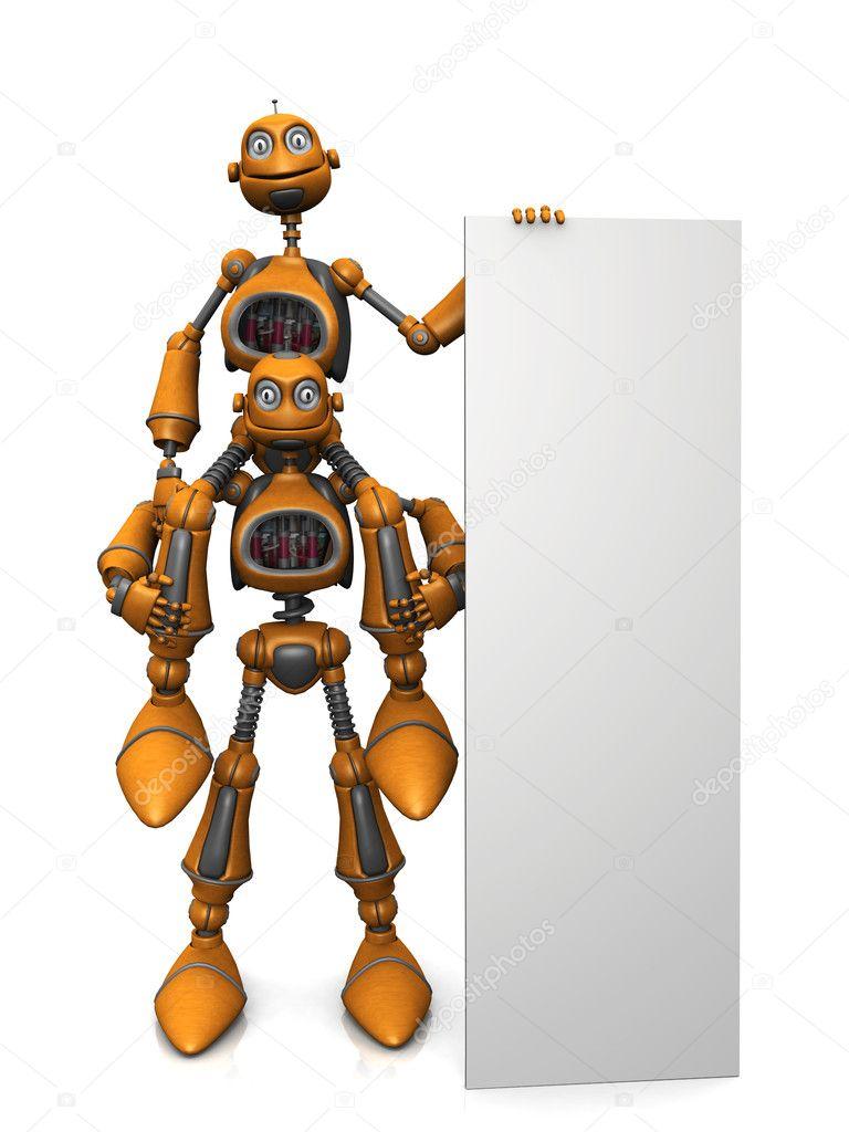 Cartone animato robot con cartello bianco u2014 foto stock © sarah5 #4198005