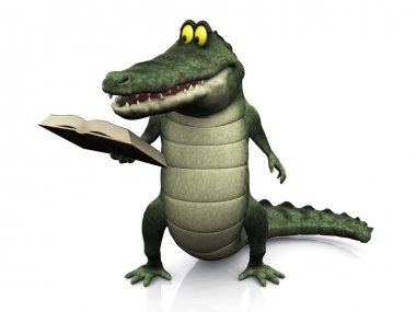 Cartoon crocodile reading book.