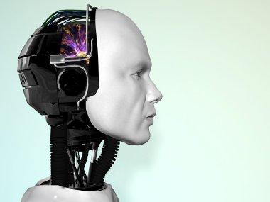 The face of a robot man.