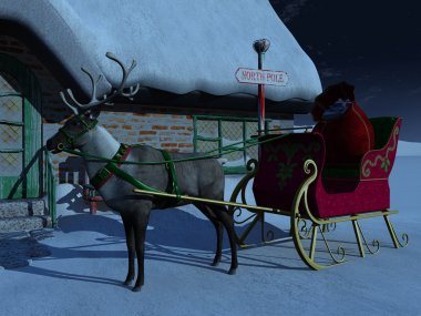 Reindeer with sleigh waiting outside Santa Claus' house.