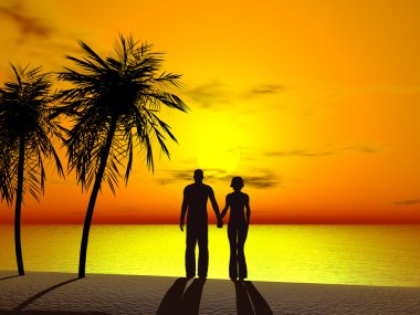 A couple holding hands in sunrise.
