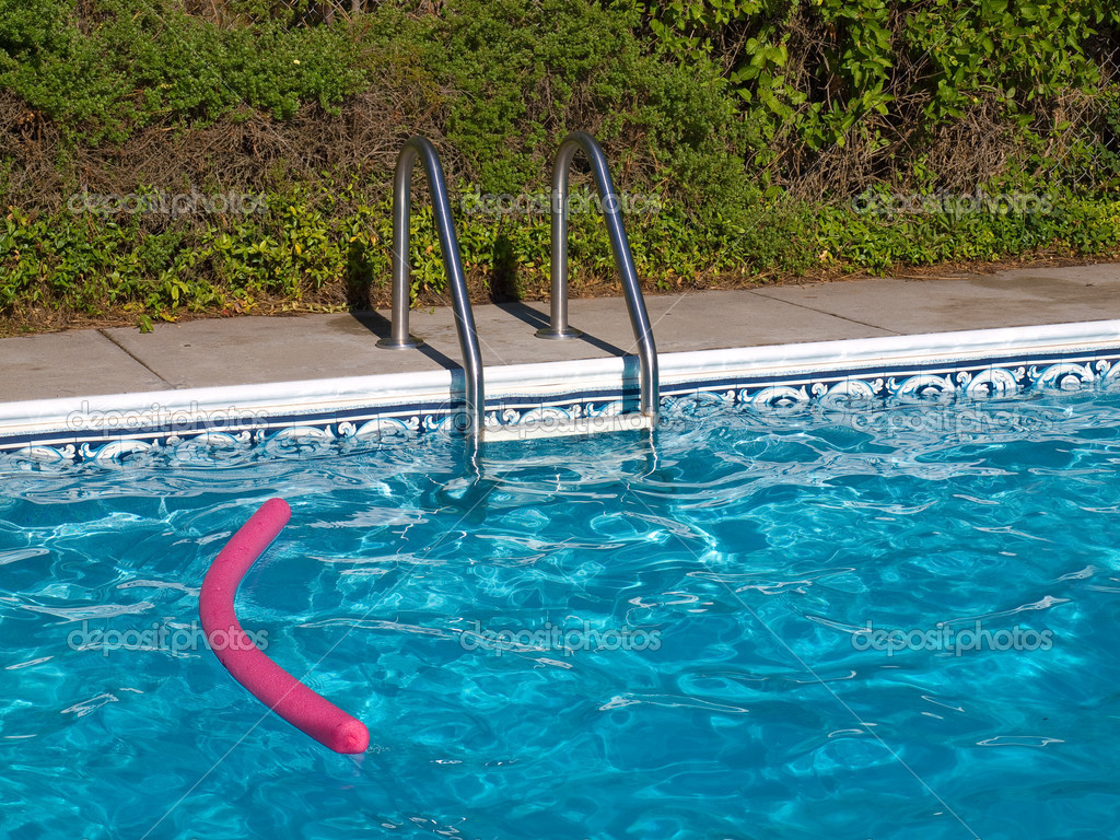 Blue swimming pool ladder and pink pool toy in full What kind of acid is used in swimming pools