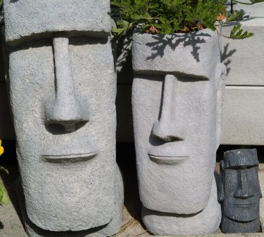 Easter Island Statue Planters with Foliage Hair