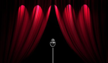 Theatre stage curtain and the microphone