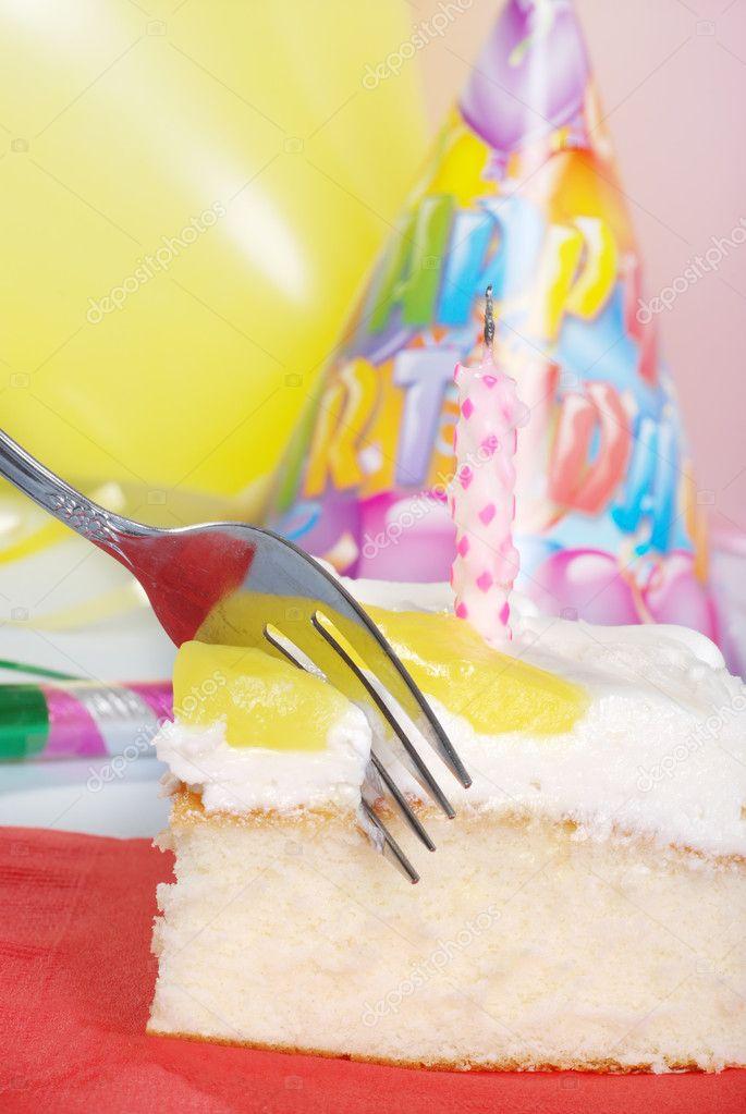 Fork Cutting Vanilla Lemon Birthday Cake Stock Photo Mcgphoto