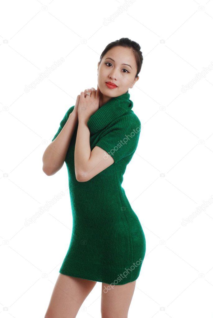 Vestido verde punto