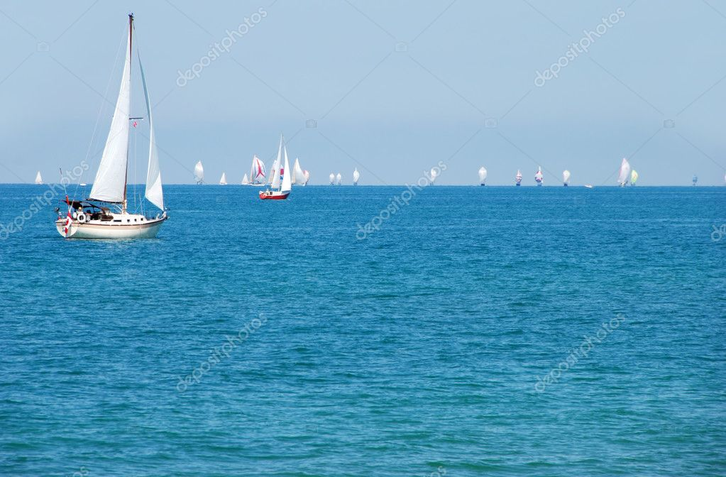 Summer day sailing a boat