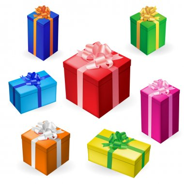 Vector illustration of 7 different gift boxes with ribbon clip art vector