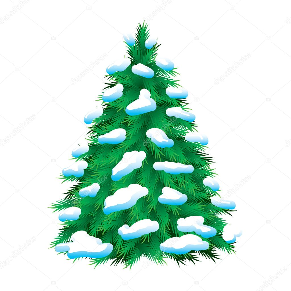 green fur tree covered with snow stock vector dvargg. Black Bedroom Furniture Sets. Home Design Ideas