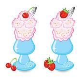 Dvě misky se zmrzlinou a šlehačkou