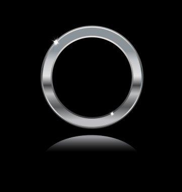 Metal frame on black background