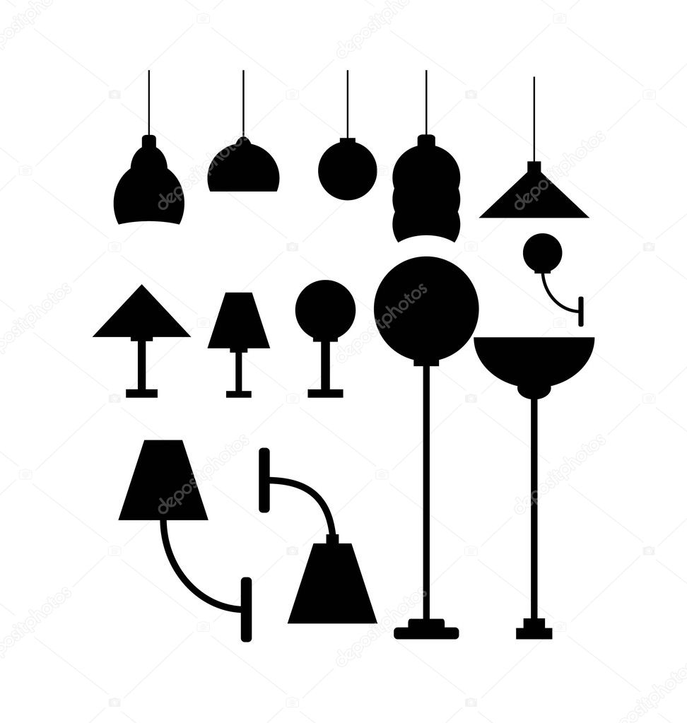 Lava lamp vector - Silhouette Of Lamps Stock Vector