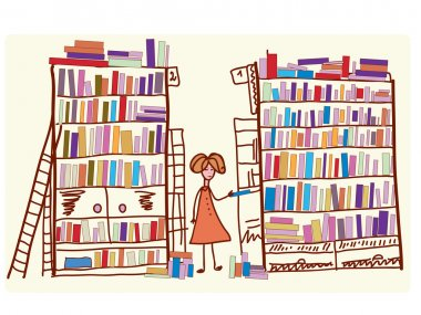 Library cartoon with child