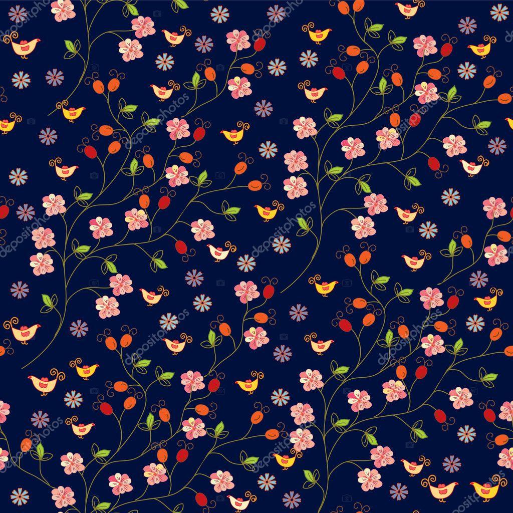 Dog rose seamless pattern
