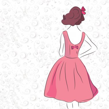 Fashion vintage girl in the pink dress