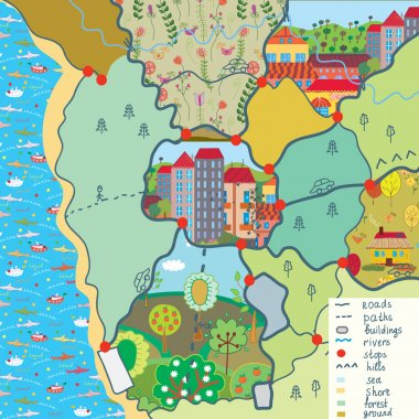 Child map with funny patterns