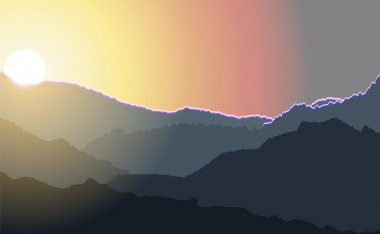 Sunrise illustration over high mountain peaks.