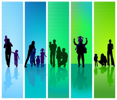 Families on blue and green background
