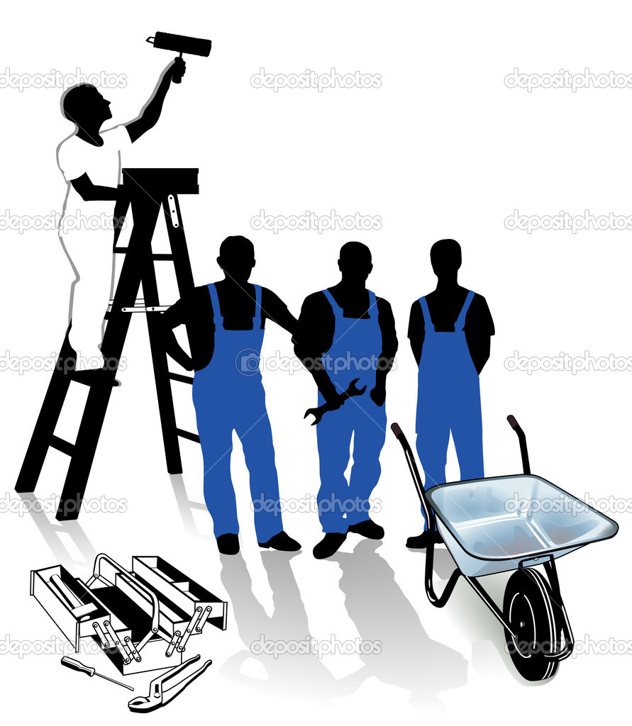 Builder painter and blue collar worker stock vector for Finding a builder