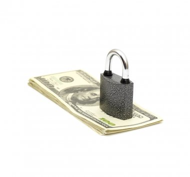 Lock and stack money isolated on white stock vector