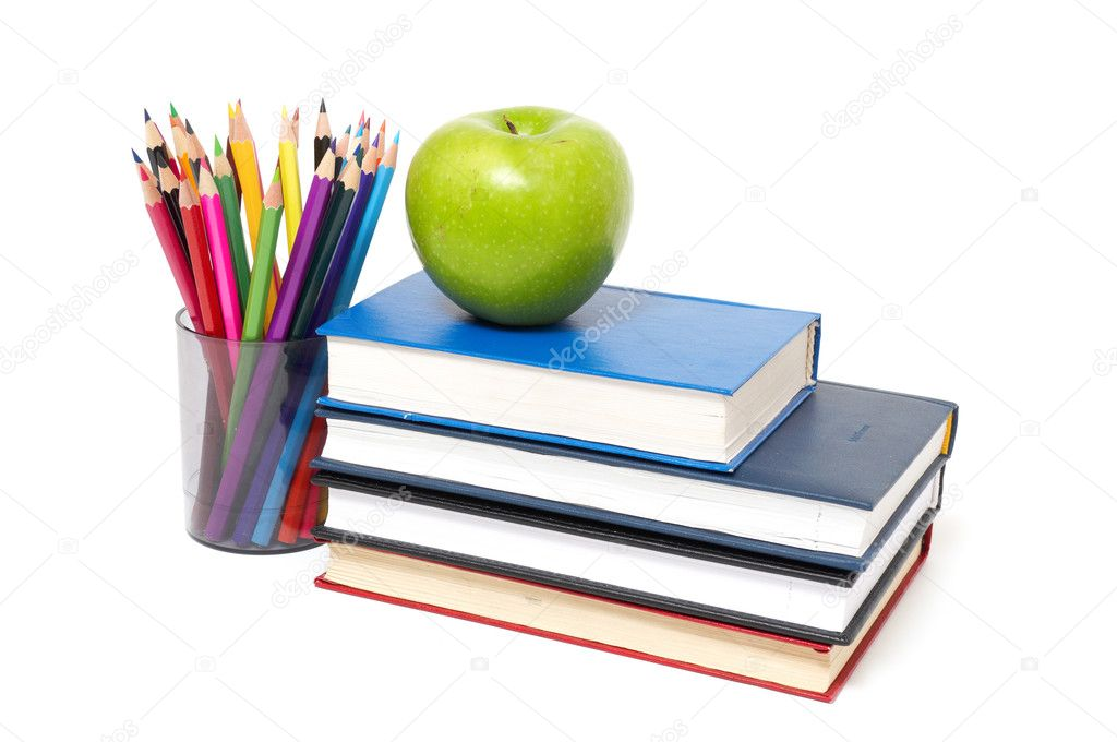 Apple, books and colored pencil — Stock Photo © merznatalia #5236680